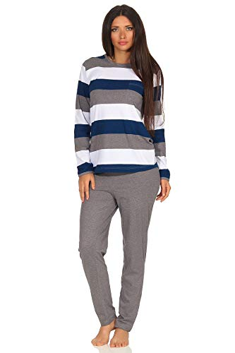 Damen Pyjama Schlafanzug Langarm - auch in Übergrössen - wunderschöne Block Streifen Optik, Farbe:Marine, Größe:48/50