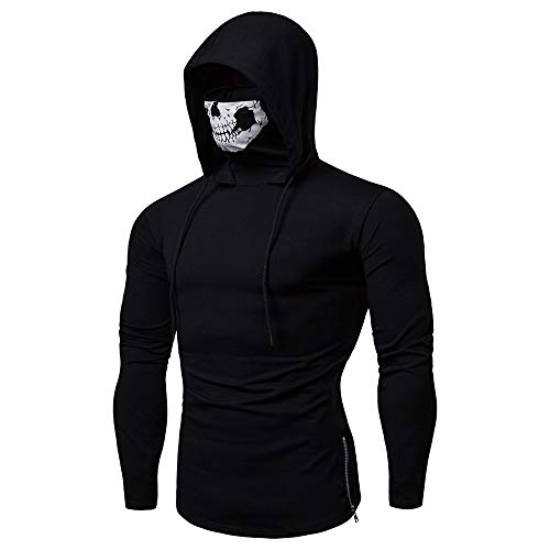 LISTHA Mens Mask Skull Pullover Hoodie Long Sleeve Hooded Sweatshirt Tops Tee