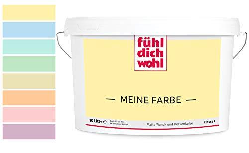 Fühl Dich Wohl Meine Farbe pastell, matte Wandfarbe pastell, hohe Deckkraft, verschiedene Pastelltöne zur Auswahl (2,5L, Pastellgelb E7-7)