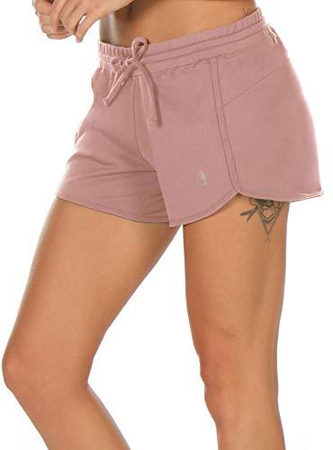 icyzone Damen Sport Shorts Sommer Kurze Hose Hot Pants Laufshorts Baumwolle (M, Rosa)