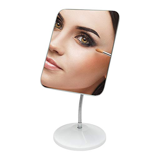 YEAKE Adjustable Gooseneck Desk Makeup Mirror, 360°Rotation Flexible Cosmetic Mirror with Stand Bathroom&Office Countertop Vanity Mirror for Men&Women Square