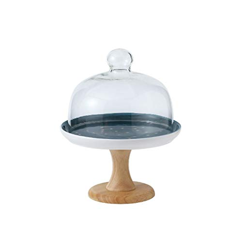 YIFEI2013-SHOP Soporte para Tartas Molde de cerámica for Pastel de Estrellas Cubierta de Vidrio Alta Bandeja de exhibición de postres Soporte de Pastel Bandejas para Tartas (Size : S)
