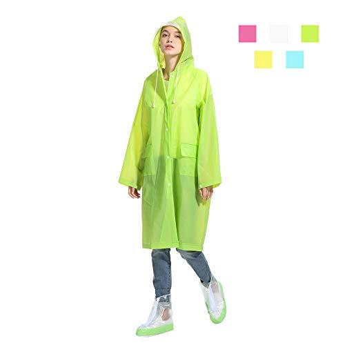 HanDingSM Regenponcho Regenbekleidung Regenmantel mit Kapuze Wiederverwendbar Wasserdicht Tragbarer Transparent Atmungsaktiv Regencape für Radfahren,Camping,Reiten,Wandern und Angeln (Grün, L)
