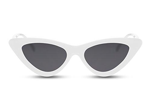 Cheapass Sonnenbrille Cat-Eye Weiß-e Grau-e Gläser Brille Fashion-Accessoire UV-400 Lichtschutz Damen Frauen