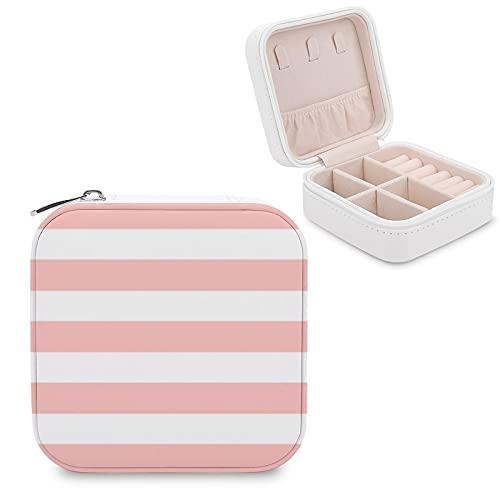 Organizador de joyas de viaje para niñas, mujeres, moderno, rosa claro y blanco, estuche de almacenamiento portátil para anillos, pendientes, collares
