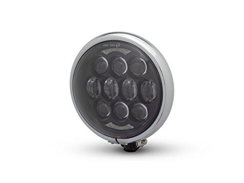 LED Moto Phare - Projecteur - pour Projet Personnalisé Rétro Motos - Noir Brillant avec Cadre Chromé