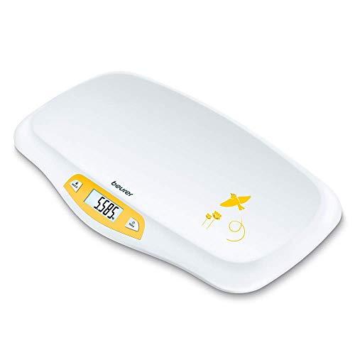 Beurer BY 80 pèse-bébé avec surface incurvée, capacité de 20 kg, fonction de tare et de maintien pour les bébés qui donnent des coups de pieds, mesure et affichage par graduation de 5g