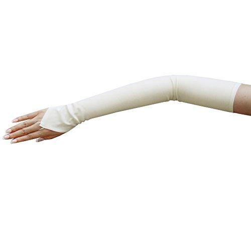ZaZa Bridal Stretch Dull Matte Satin Fingerless Gloves Opera Length/No Shine, Elegant Look-Off White
