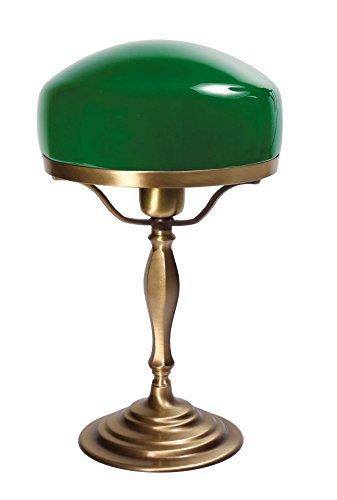 Tischlampe Messing Grün Glasschirm Handarbeit Pilzform E27 bis 60W Jugendstil Bankerlampe Schreibtisch