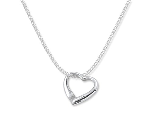 Heather Needham Childrens Sterling Silver Floating Heart Necklace on 15' (37cm) Silver Chain - Size: Small 10mm. Genuine Solid Silver - NOT Plated. Gift Boxed. 8029/15