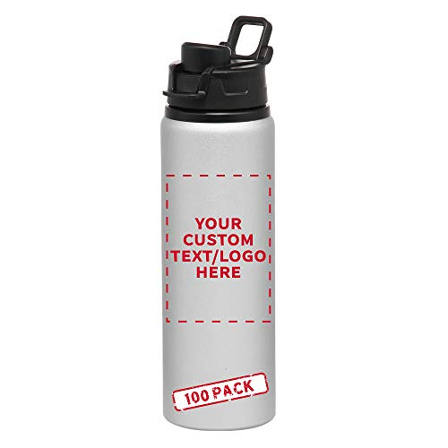 Aluminum Water Bottles with Snap Lids - 25 oz - 100 pack - Customizable Text, Logo - Bottle with Lid - Great For The Gym, Camping, Hiking, Fishing - Silver