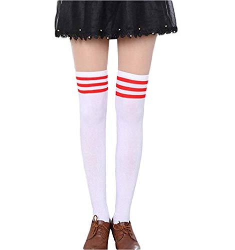 Damen Mädchen Kinder Cheerleader College Kniestrümpfe mit 3 Streifen Gestreifte Overknees Über Knie-Lange Geringelte Strümpfe Geringelt Gestreift Streifen Schwarz Weiß Rot Rosa (Weiß und Rot)