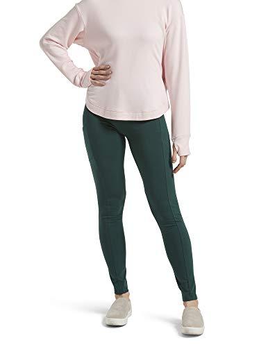 No Nonsense Legging de algodón para mujer con bolsillo, Verde botella, M