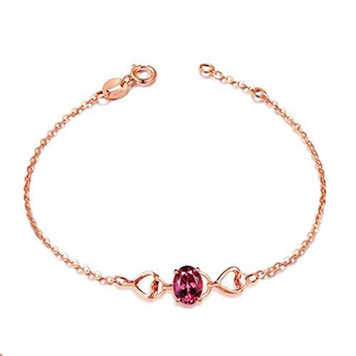 Daesar 18K Rose Gold Bracelets for Women, Chain Bracelet for Women Hollow Heart Tourmaline Bracelet Rose Gold