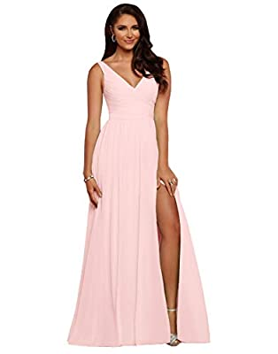 Vici Gowner Women's V Neck Chiffon A Line Pleated Blush Pink Bridesmaid Dresses Long Slit Prom Party Dress Size 14