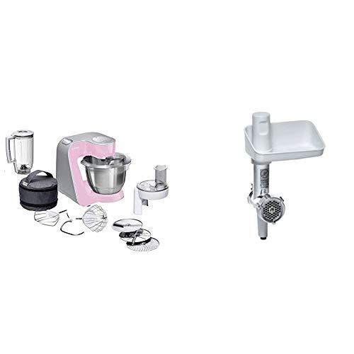 Bosch MUM58K20 CreationLine Küchenmaschine (1000 Watt, 3, 9 Liter, edelstahl-Rührschüssel, Durchlaufschnitzler, Mixer-Aufsatz) pink + MUZ5FW1 Fleischwolf