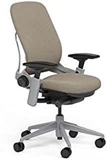 Steelcase Leap Plus Desk Chair in Buzz2 Sable Fabric - 500 lb Weight Capacity - Highly Adjustable Arms - Platinum Frame and Base - Soft Dual Wheel Hard Floor Casters
