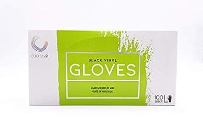 Colortrak Disposable Powder Free Vinyl Gloves, Black, L (Pack of 2)