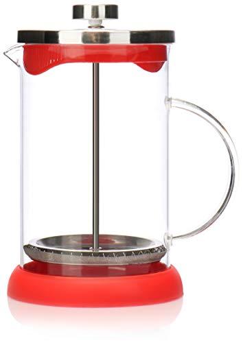 COM-FOUR cafetera con sistema French-Press - Coffee press también sirve como tetera - cafetera con cilindro de vidrio (01 piezas - cafetera 800ml / rojo)