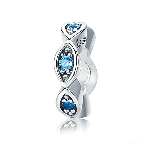 LIJIAN DIY 925 Sterling Jewelry Charm Beads Real Lucky Blue Eye Glitter Spacer Haga Originales Pandora Collares Pulseras Y Tobilleras Regalos para Mujeres