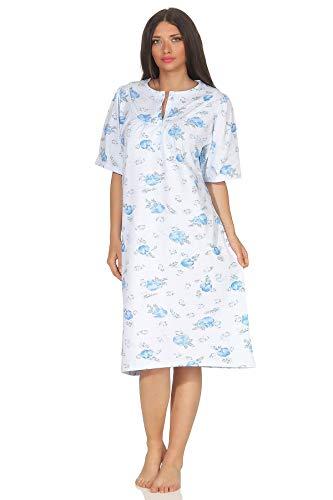 Jeanette by Normann Damen Kurzarm Nachthemd fraulich, 105 cm Länge, florales Muster - 63544, Größe2:44/46, Farbe:hellblau