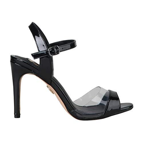 Buffalo Damen Sandalen Jade, Frauen Sandaletten, elegant Sommerschuhe offene Absatzschuhe hoher Absatz,Schwarz(Black),40 EU / 6.5 UK