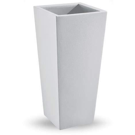 STARFIVE Vaso Quadrato in Resina h 70 cm con Cache Pot Made in Italy Bianco