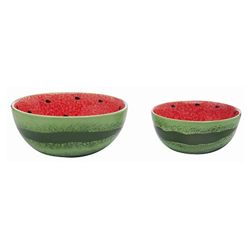 Transpac Red Dolomite Spring Bright Watermelon Nested Bowls Set of 2