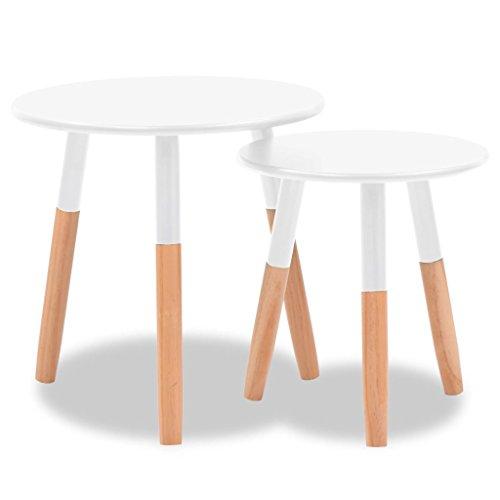 vidaXL Set de mesas auxiliares 2 unidades madera maciza de pino blanco