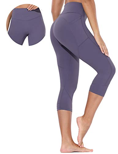 BALEAF Capri Yoga Pants for Women High Waisted Cropped Leggings Tummy Control Workout Running Tights with Pockets Twilight Purple Size L
