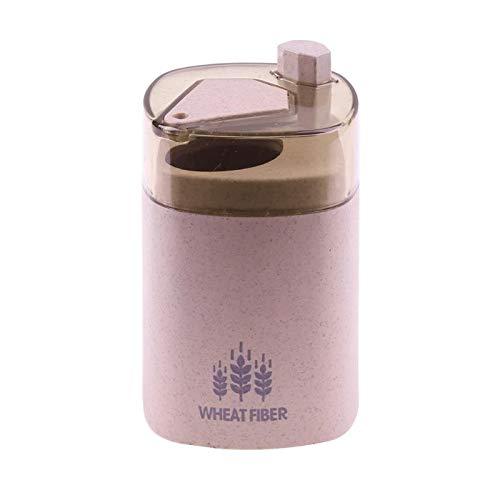 HeBiShiZeLiJianCaiXiaoShouYouXianGongSi Drücken Sie die Hand des Lagerbehälters Stroh Zahnstocher Spender, aktualisieren Sie die Größe Doo, 9.3x5.3cm, (Color : Pink)