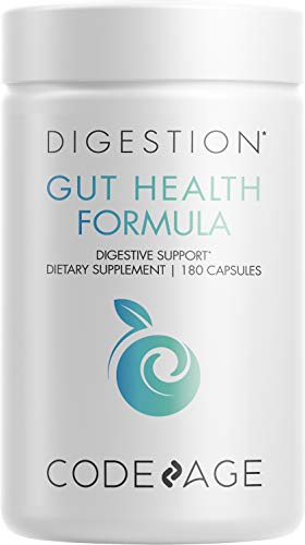 Codeage Gut Health Supplements Vegan Formula - L Glutamine, Zinc, Turkey Tail Mushroom Powder, Tonic Mushroom, Maitake, Micro Algae, Mineral, Licorice Root DGL - Probiotics, Prebiotics - 180 Capsules