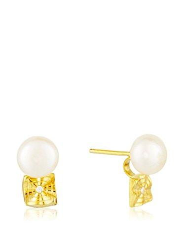 Córdoba Jewels | Pendientes en plata de Ley 925 bañado en oro. Diseño Tú y Yo Diamantado Perla Oro