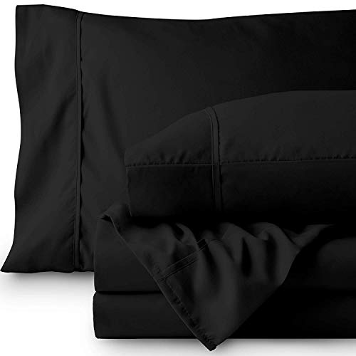 Indiana Linen 600-Thread-Count 100% Cotton Sheet Black California-King 4-Piece Sheets Set Long-Staple Egyptian Cotton Best-Bedding Sheets for Bed Fits Mattress Upto 15'' Deep Pocket