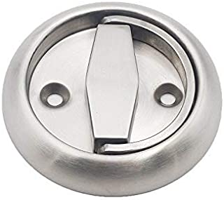 Round Recessed Door Handle/Deadbolt (No Key)(Standard US Door 1.3-1.7 inch / 35-45mm), NOT for Pocket Doors, Thick Latch with Round Edge. Cannot be Used for pre-Made Doors with knob/Handle Holes