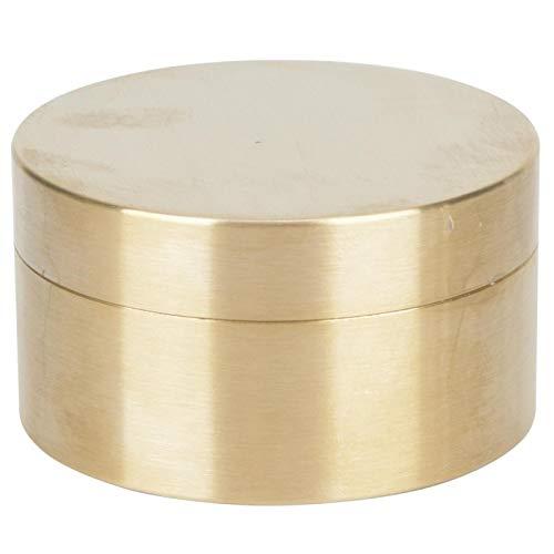 Caja de almacenamiento sellada para joyería, portátil, sin revestimiento, ligera, para exteriores, forma redonda, caja de latón a prueba de humedad para almacenar píldoras, monedas, hojas(large)