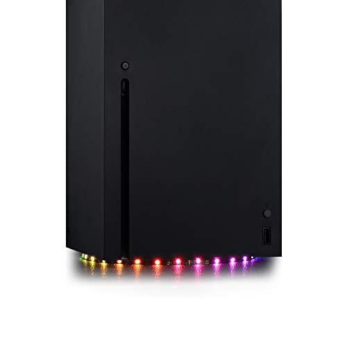 eXtremeRate PlayVital RGB LED Striscia Luminosa per Xbox Series X Console Multicolore Decorativo Luci Nastro Adesivo Flessibile DIY Kit per Xbox Series X Console con IR Telecomando-7 colori 29 effetti