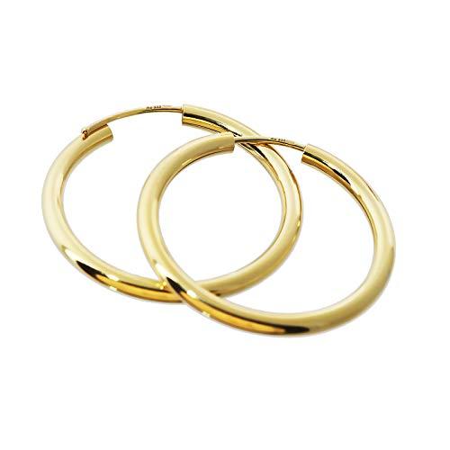 NKlaus PAAR 333 gelb Gold CREOLE Ohrringe Ohrschmuck rund Goldohrringe 30mm 1851
