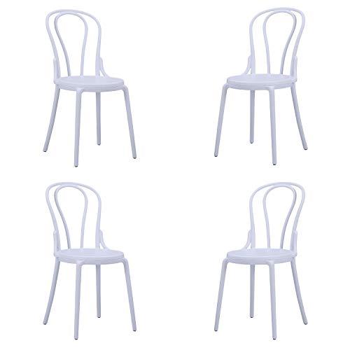 Thonet, Pack de 4 sillas de Salón, Comedor, Cocina o Terraza, Silla Contract, Acabado en Blanco, Medidas: 44 cm (Ancho x 50,5 cm (Fondo) x 88,5 cm (Alto)