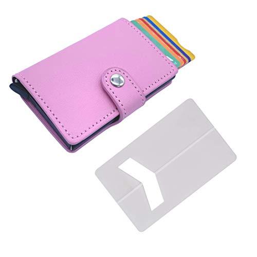 Tarjetero de Hombre pequeño con Monedero (con pequeña Cartera) – Tarjetero metalico Aluminio automatico RFID para Tarjetas de crédito de Piel Sintetica ✚ Soporte Tarjeta para teléfono movil (Rosa)