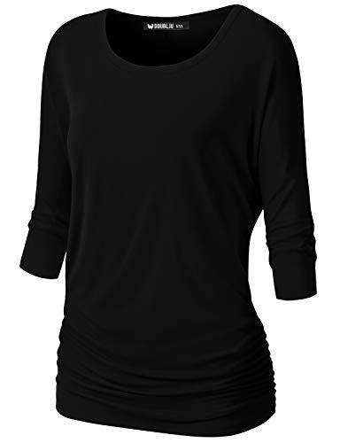 NINEXIS Womens V-Neck 3/4 Sleeve Drape Dolman Top Black M