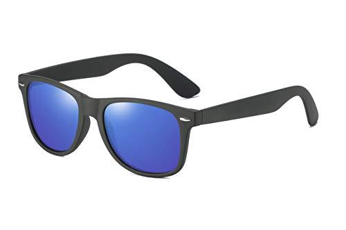 Skevic Polarisierte Sonnenbrille Herren und Damen - Fahrradbrille mit UV400 Schutz, Radbrille Sportbrille für Autofahren Running Skifahren Fischen Radfahren Wandern Golf (Schwarz/Blau)