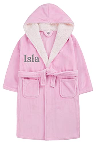 Personalised Girls Fleece Dressing Gown Bathrobe Yo9unger Teens (Pink, 4-5 Years)