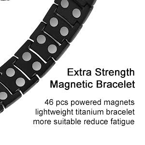 Feraco Titanium Magnetic Bracelet for Men Arthritis Pain Relief Carpal Tunnel Health Double Row Strong Magnets Ultra Strength Magnetic Therapy Bracelet, Lightweight Durable Titanium Bracelet