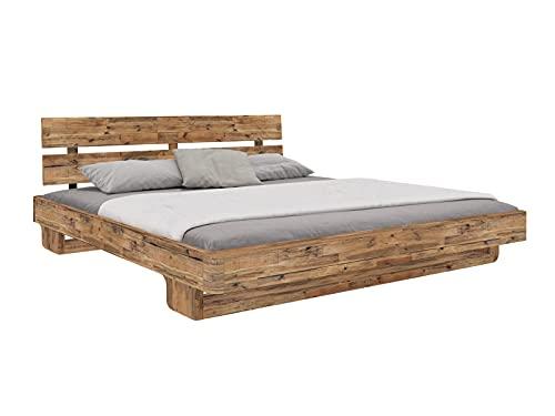 Woodkings® Holzbett Bett 140x200 Madras Doppelbett Schlafzimmer Massivholz Design Altholz recycelte Pinie Schwebebett Massive Naturmöbel Echtholzmöbel