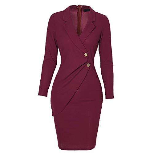 Vestidos vintage para mujer, para mujer, con cuello redondo, manga larga, botones de trabajo, vestido formal, fiesta, elegante, boda, invitado, Vino, S