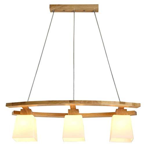 Lampara de arana de madera con pantalla de vidrio, lampara colgante modernas, decor luz de iluminacion, para mesa de comedor, cocina sala de estudio E27 3 llamas, Lampara de comedor lampara de cocina