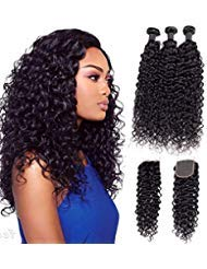 """9A Brazilian Virgin Curly Wave Human Hair 3 Bundles with Lace Closure 100% Unprocessed Brazilian Jerry Curly Hair Weave Bundles with 4x4 Lace Closure Natural Black Color (20""""22""""24"""" with 18"""")"""