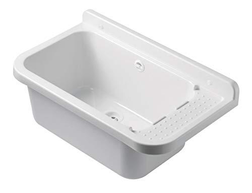 VBChome Ausgussbecken 60 x 35 x 21 cm Spülbecken Waschtrog mit Überlauf Waschbecken für Gewerbe Waschraum Garten inkl. Ablaufgranitur
