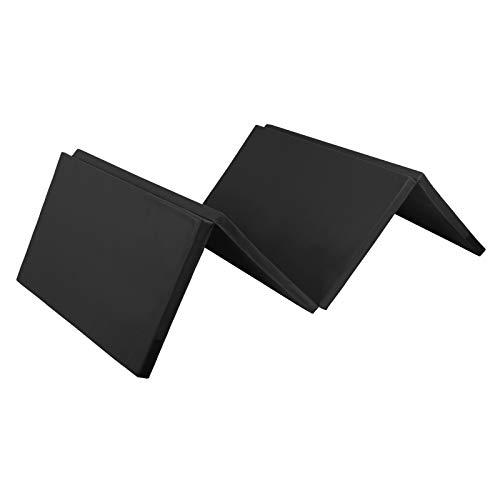ALPIDEX Klappbare Gymnastikmatte Turnmatte für zuhause 240 x 120 x 5 cm für Kinder und Erwachsene - mit Klettecken, 3fach klappbar, Farbe:schwarz